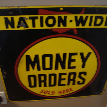 VINTAGE NATION WIDE MONEY ORDER ADVERTISING SIGN.