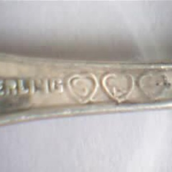 Real Sterling Silver Spoon 3 Hearts On Back - Sterling Silver