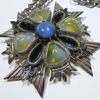 Large Florenza Givre Glass & Enamel Maltese Cross Pendant Necklace