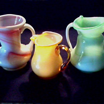 "Three Colorful Miniature Art Glass Pitchers / ""Kanawha"" or ""Akro"" Slag Glass / Unknown Age"