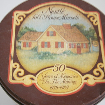 Vintage Nestle Toll House Morsels Tin Can 50 Year Anniversary 1939-1989  - Advertising