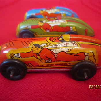 1947 Fawcett Publications Automatic Toy Corp Captain Marvel Metal Cars #1, 2, and 4 - Model Cars