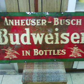 A Budweiser tin sign - Signs