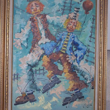 CLOWNS OIL PAINTING UNKNOWN ARTIST SIGNED - Visual Art