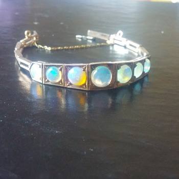 Copper, opal and gold bracelet