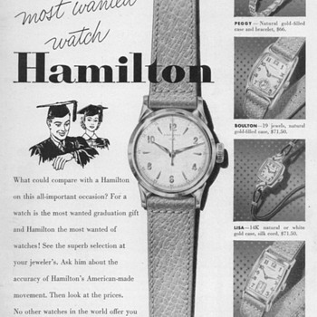 1952 - Hamilton Watches Advertisement - Advertising