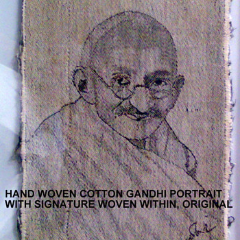 AWESOME VINTAGE HAND WOVEN COTTON PORTRAIT OF MAHATMA GANDHI WITH AUTOGRAPH