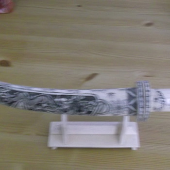asian signed bone knife on stand - Asian
