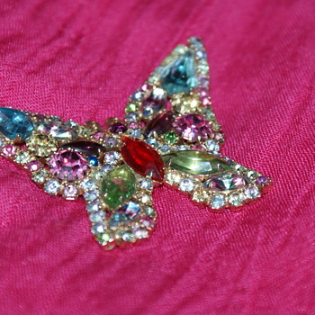 Weiss Butterfly Brooch - Costume Jewelry