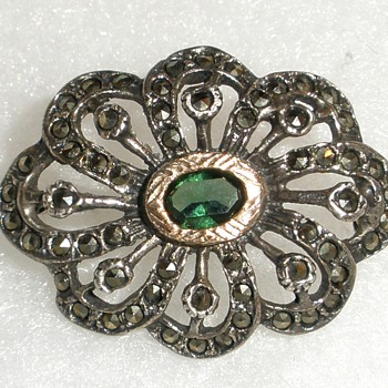 Sterling,  Gold , Marcasite & ?? Green Gemstone Brooch.