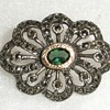 Sterling,  Gold , Marcasite & ?? Green Gemstone Brooch.