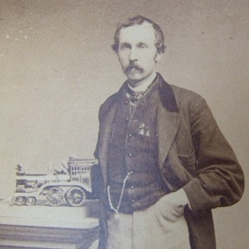 CDV of Man with Locomotive Engine on column