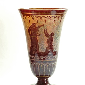 antique glass vase with grecian figures ( bohemian?) - Art Nouveau