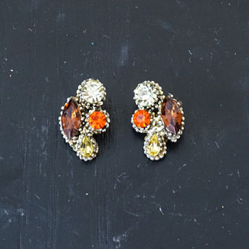 Weiss Clip On Rhinestone Earrings - Costume Jewelry