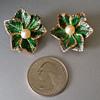 Enamel Vintage Pearl GERMANY Clip Earrings