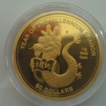 Year of the millennium Dragon Gold Coin - Gold