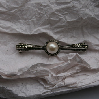 Art Deco Pearl and Marcasite Silver Brooch - Fine Jewelry