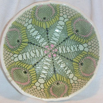 Flower or Peacock Feathers ~ Hand Cut and Painted Bowl - Art Pottery