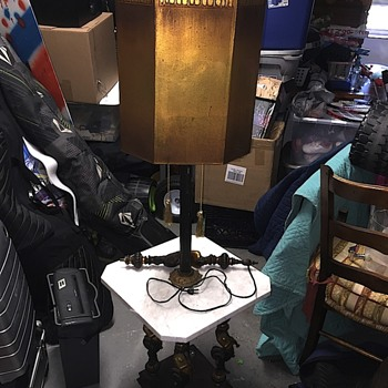 Antique marble and bronze mermaid table lamp