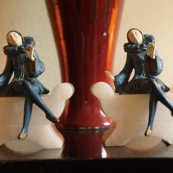 1925 Blue Harlequin Girls on Divan Bookends,  J B Hirsch - Art Deco