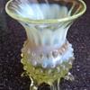 Small Vaseline, hobnail glass vase.