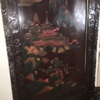 Japanese Carved and Painted Screen With Foo Dog Supports