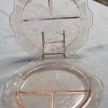 "Two 10 1/2"" Pink Depression Glass Princess Grill Plates"