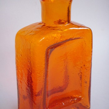 Large Orange Glass Vase/Bottle~American//Scandinavian? - Art Glass