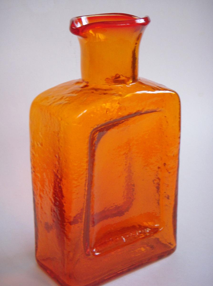 Large orange glass vase bottle american scandinavian for Orange vase