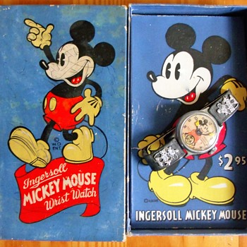 Blue Boxed Mickey Mouse Watch 1935-38 - Wristwatches
