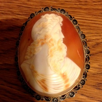 Greek shell cameo pin/brooch
