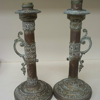 Old Brass Lamps .   Oil?  Whale oil?   Age?  - Lamps