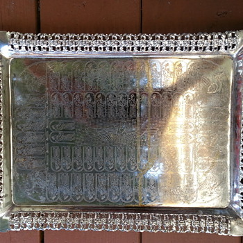 PERSIAN SILVERTONE METAL TRAY
