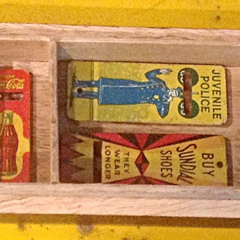 Tin lithograph advertising whistles