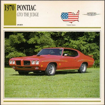 Vintage Car Card - 1970 Pontiac GTO - Cards