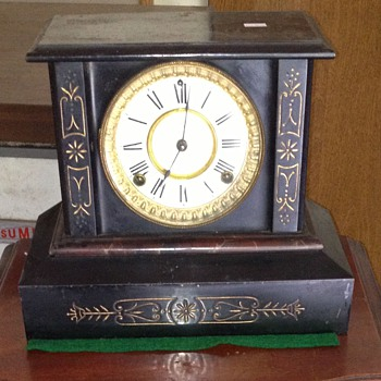 BLACK IRON  ANSONIA CLOCK CO. MANTEL CLOCK  - Clocks