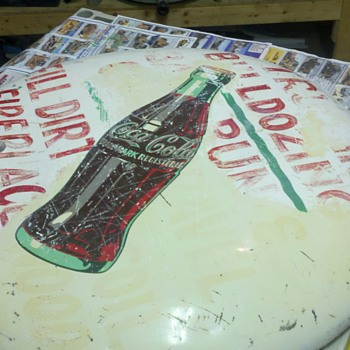 "'60's 36"" Coke button sign I picked up, before and after a little elbow grease and wet sanding...."