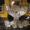 Antique Heisey punch bowl with cups