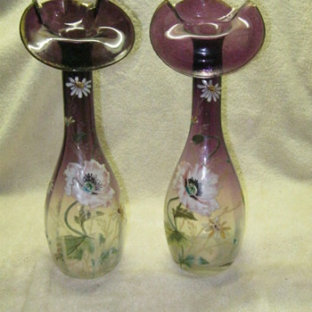 Mont Joye Legras Jack in the Pulpit Vases Amethyst to Clear Enameled  - Art Glass