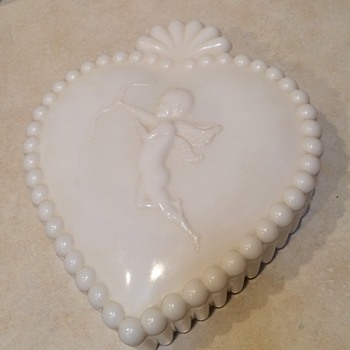 White Milkglass candy dish with a cupid