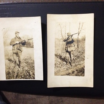 RPPC if a Hunter in the woods - Photographs