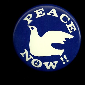 Peace Now and Out Now Vietnam protest button's