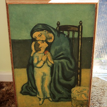 Vintage framed print of Picasso&#039;s Mother and Child - 40s or 50s?