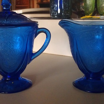 Nice Royal Lace Blue Creamer and Covered Sugar - Glassware