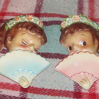 Vintage ceramic female face wall pockets