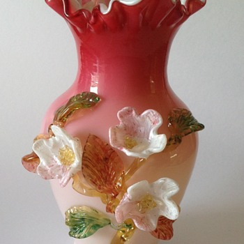 Victorian art glass vase with applied flowers
