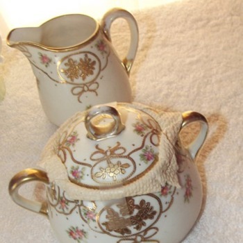 Vintage 2 pc. Matching Cream and Sugar Nippon wt Markings Beautiful Gold Work - China and Dinnerware