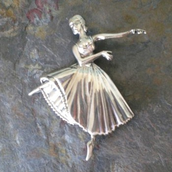 Sterling Silver Ballerina Brooch,Pin - Costume Jewelry