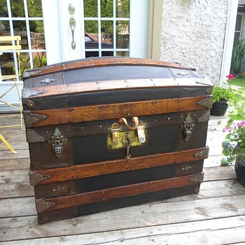 Antique Leather Trunk 1880's - Furniture