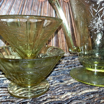 Two Federal Glass Company Amber Sherbets